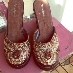 Vintage Chocolate brown wedge shoes